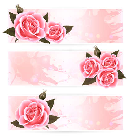 flower border pink: Three holiday banners with pink beautiful roses.
