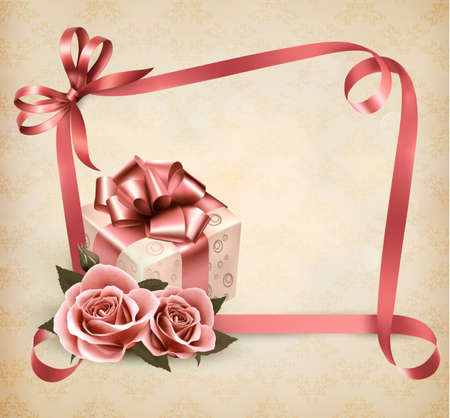 rosa: Holiday background with pink roses and gift box and ribbon.