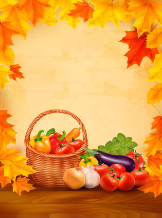 Autumn background with fresh vegetables in basket. Healthy Food. Vector illustration Vector