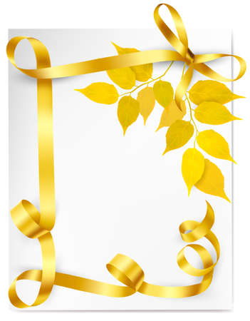 golden ribbons: Autumn background with yellow leaves and gold ribbons. Back to school Vector illustration