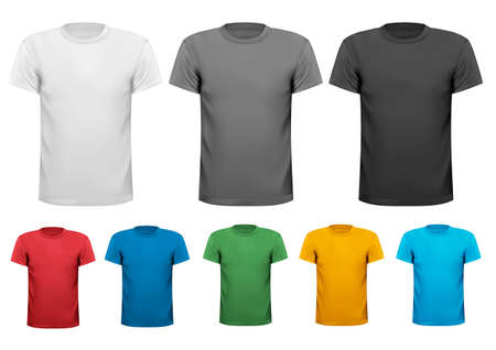 t shirt design: Colorful male t-shirts. Design template. Vector.