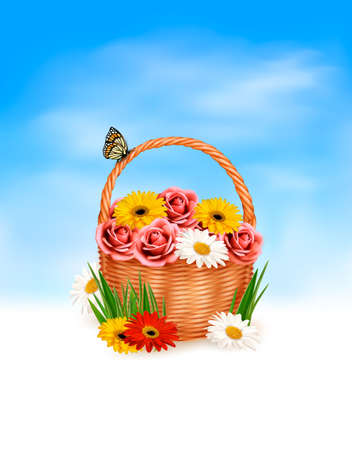 Holiday background. Basket full of flowers with a butterfly. Vector. Vector