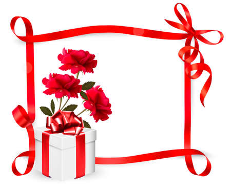 Holiday background with three roses and gift box and ribbon. Vector. Stock Vector - 20457494