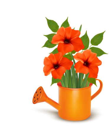 Fleurs fraîches d'été en croissance dans un arrosoir. Vector.