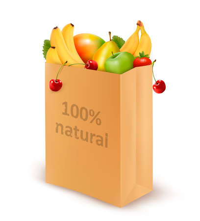 body milk: 100 percent natural on a paper bag full of fresh fruits. Concept of diet.