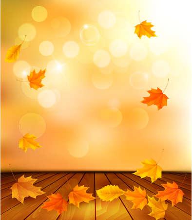 Achtergrond met houten vloer en herfstbladeren.