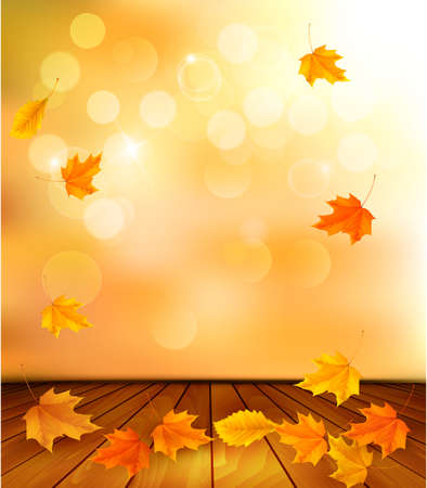 Background with wooden floor and autumn leaves.  Vector