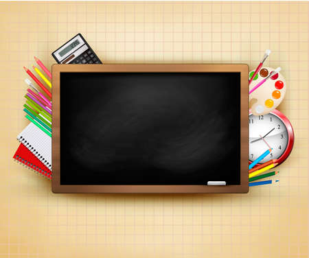 Back to school. Background with blackboard and school supplies. Vector