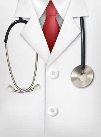 bata de laboratorio: Primer plano de un médico de bata blanca de laboratorio y un estetoscopio. Vectores