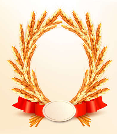 Ripe yellow wheat ears with red ribbons.  Illustration