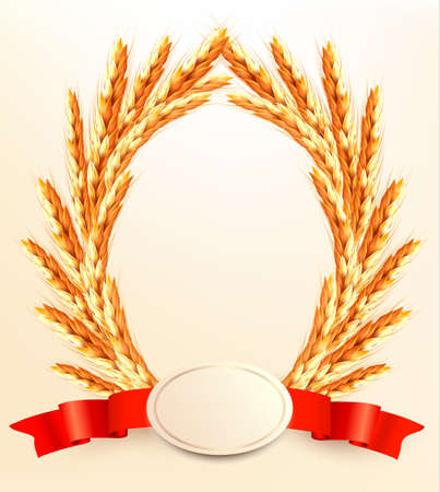 Ripe yellow wheat ears with red ribbons. Vector