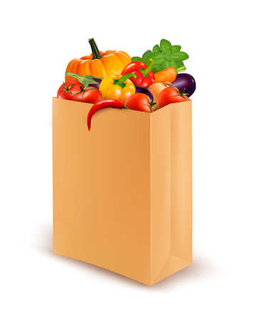 Background with fresh vegetables in paper bag. Healthy Food.  Vector