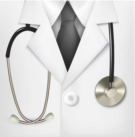 white coat: Close up of a doctors lab white coat and stethoscope.