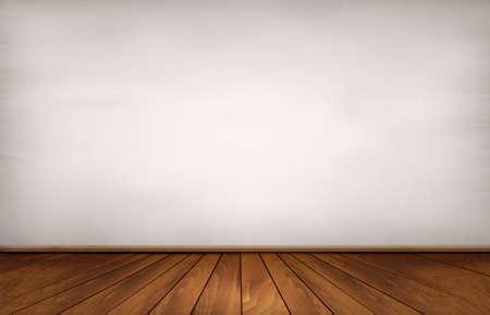 Muur en een houten vloer.