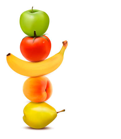 Group of fresh fruit. Dieting concept.