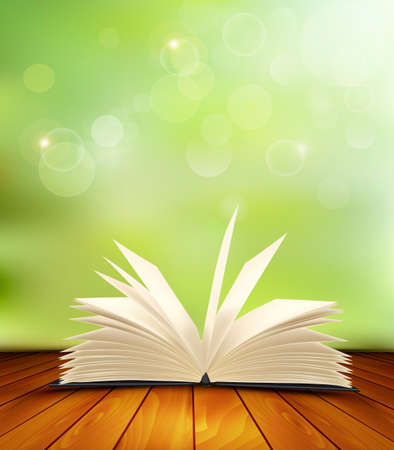 Open book on a wooden floor in front of a green background. Vector