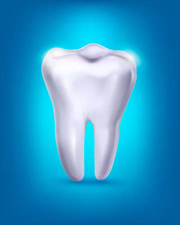 dental caries: White tooth on a blue background.