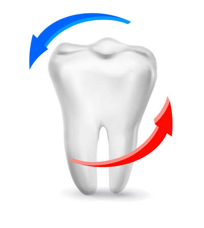 smile  teeth: White tooth surrounded by beams. Taking care of teeth concept.  Illustration
