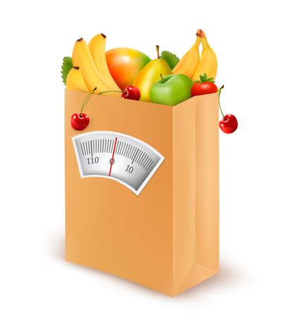 body fat: Healthy diet. Fresh food in a paper bag.