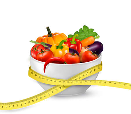 Diet meal. Vegetables in a bowl with measuring tape. Concept of diet.  Illustration