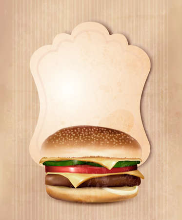 Retro fast food menu for burger.  Vector