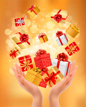 giving gift: Holiday background with hands holding gift boxes. Concept of giving presents. Vector illustration.  Illustration