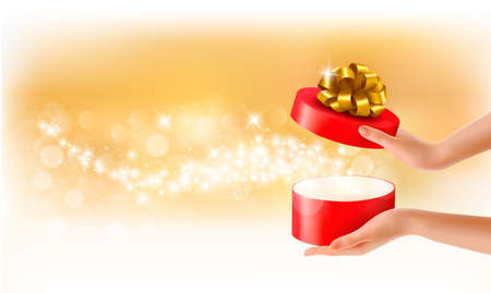 giving gift: Woman holding a red gift box on holiday background, Vector Illustration
