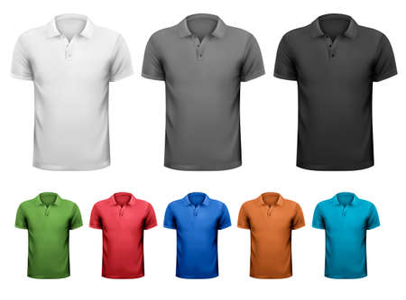 Camisetas masculinas em preto e branco e em cores. Modelo de design. Ilustração vetorial