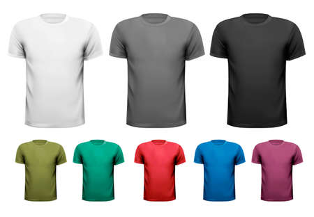 Black and white and color men t-shirts. Design template. Vector illustration  Vector