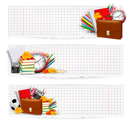Back to school. Zwei Banner mit Schulmaterial. Vector. Standard-Bild - 21401817