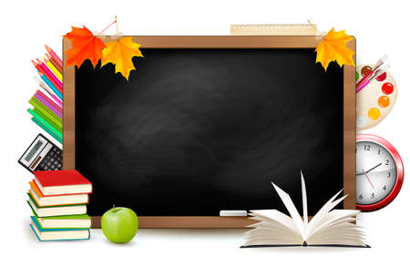 Back to school. Blackboard with school supplies. Vector. Vector