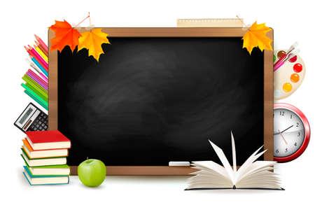 Terug naar school. Blackboard met schoolspullen. Vector.
