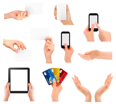 Set of hands holding different business objects. Vector illustration Stock Vector - 21402009