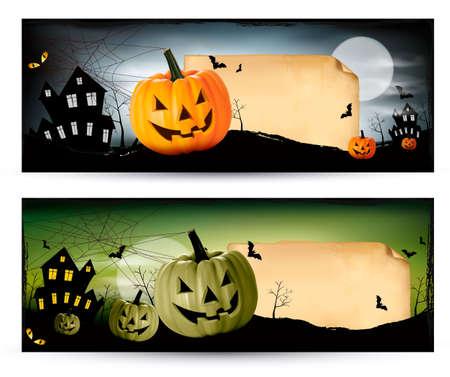 Two Halloween banners Vector Vector