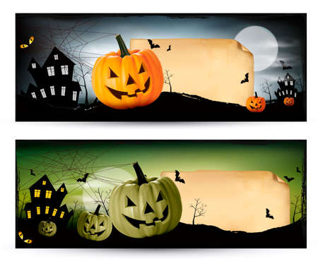 halloween concept: Two Halloween banners Vector