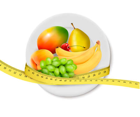 Diet meal. Fruit in a plate with measuring tape. Concept of diet. Vector illustration  Stock Vector - 21402013