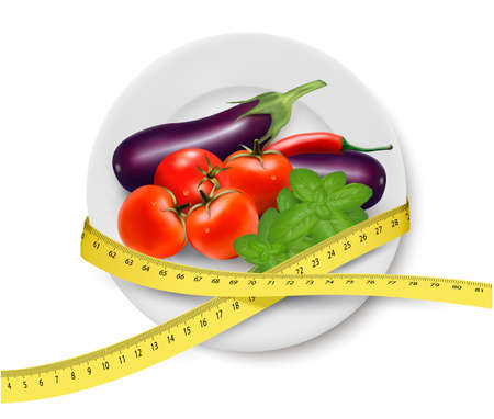 measuring tape: Diet meal. Vegetables in a plate with measuring tape. Concept of diet. Vector illustration