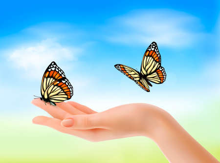 insect flies: Hand holding a butterflies against a blue sky. Vector illustration.