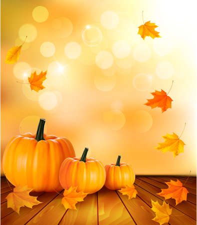 pumpkin leaves: Pumpkins on wooden background with leaves. Autumn background. Vector.  Illustration