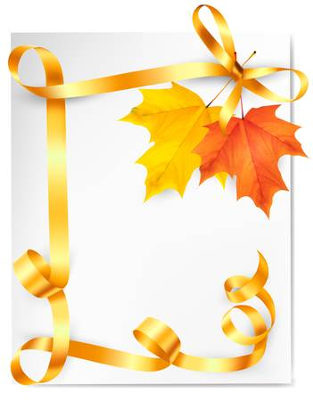 fall leaves border: Autumn background with colorful leaves and gold ribbons. Back to school. Vector illustration