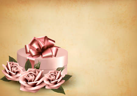 Retro holiday background with pink roses and gift box. Vector  Vector