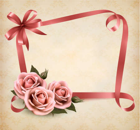 Retro holiday background with pink roses and ribbons. Vector illustration.  Vector