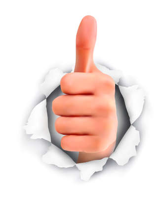 endorsing: Hand with thumb up through a hole in ripped paper. Vector