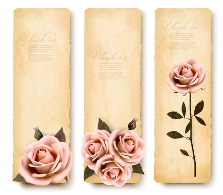 Three retro holiday banners with pink roses. Vector  Vector