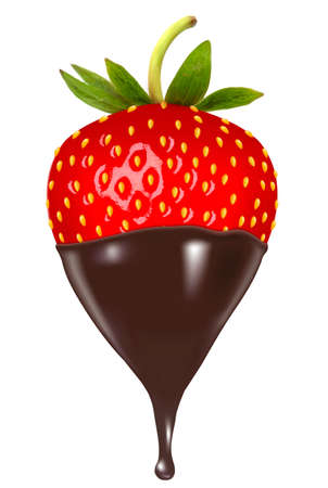 dipped: Chocolate dipped strawberry. Vector