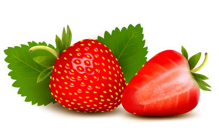 2 objects: Two strawberries with leaves . Vector.
