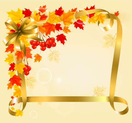 Autumn background with colorful leaves and gold ribbons  Back to school  Vector illustration  Vector