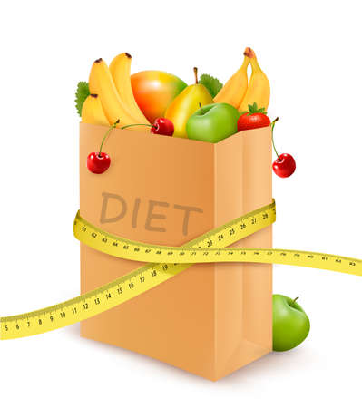 Fresh vegetables in a paper grocery bag with measuring tape. Concept of diet. Vector  Vector