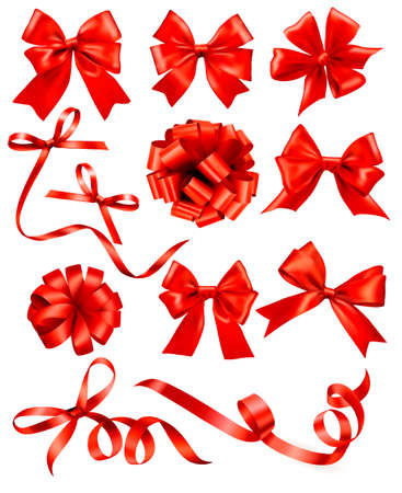 christmas bow: Big set of red gift bows with ribbons