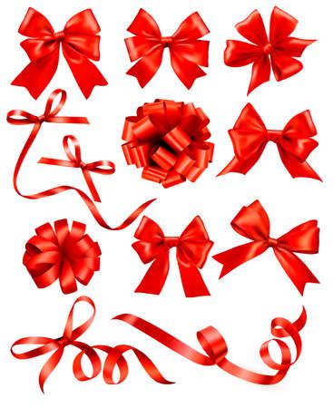 Große Reihe von roten Geschenk Bögen mit Bändern Standard-Bild - 21632350